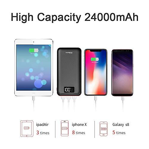 Batterie Externe 24000mAh Power Bank Aikove Chargeur Portable Deux Entr/ées /& 3 Ports Haute Vitesse et Technologie Digi-Power pourTous les smartphones Tablette  USB Via Device