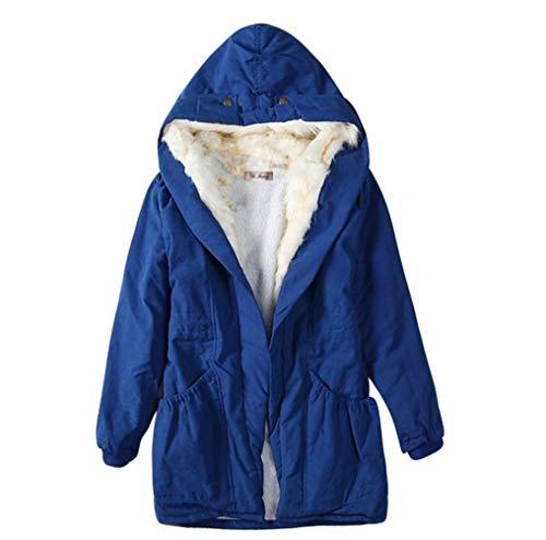 Avec Veste Jeelinbore coat Automne Femmes Capuche Pour Longue Manteau Snow L'hiver Trench Bleu Parka HvqxYvFfw