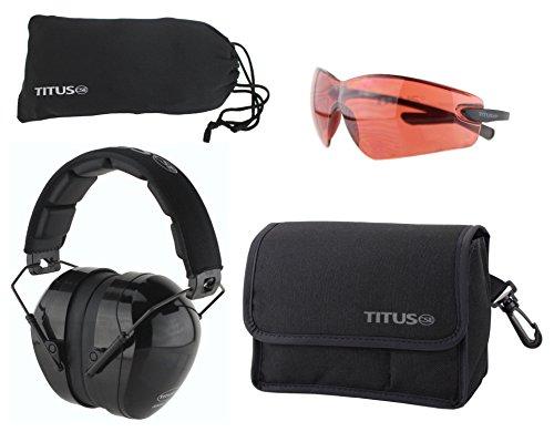 Glasses Vermillion Lens - Titus Safety Earmuffs & Glasses Combo (Black - Contoured, G23 Vermillion Fold-Less Ultralights)