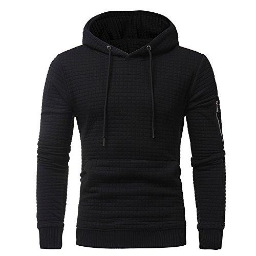 Ximandi Mens' Long Sleeve Plaid Hooded Sweatshirt Autumn Winter Slim Fit Hoodies w Pocket ()