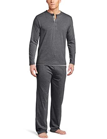 Joseph Abboud Men's Melange Knit Long Sleeve Henley With Pant, Charcoal, Small