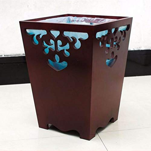 (Chinese Style Retro Rosewood Square Trash can Individuality Household uncovered Creative Trash can)