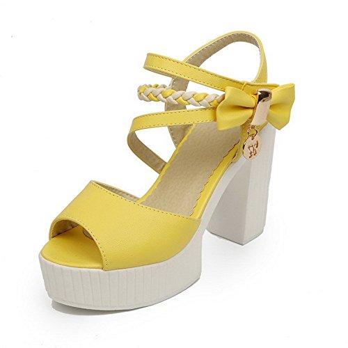 AllhqFashion Mujeres Velcro Peep Tacón ancho Cuero Colores Surtidos Sandalia Amarillo