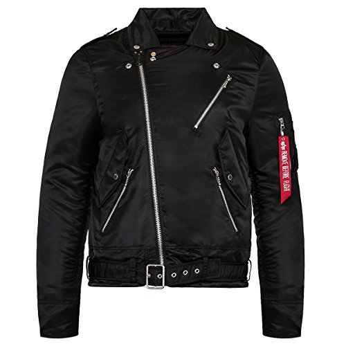 Alpha Industries Mens Outlaw Biker Jacket, Black, - Outlaw Biker