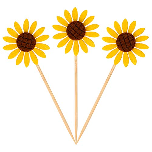 Sunflower Cake Decorations (Donoter 36 Pcs Sunflower Cupcake Toppers Picks for Birthday Engagement Party Food)