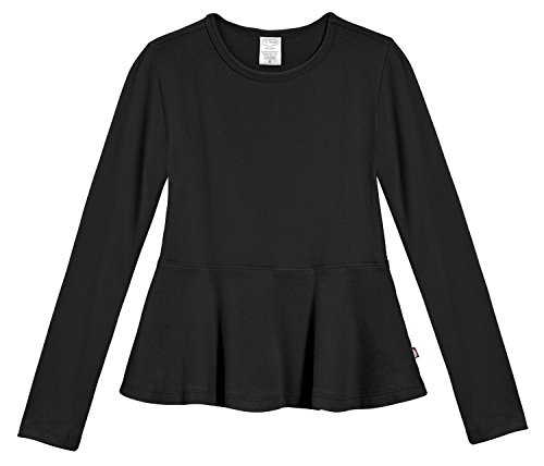 City Threads Big Girls' Cotton Long Sleeve Peplum Top Blouse Shirt for School, Parties or Play Perfect for Sensitive Skin and Sensory Friendly SPD, Black, 8