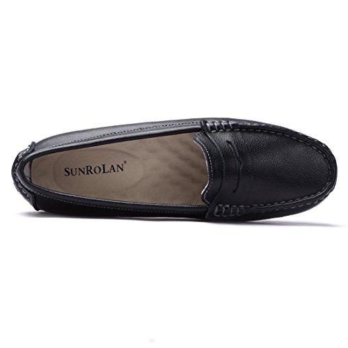 Sunrolan Casual Mujeres Cuero Genuino Penny Mocasines Conducción Mocasines Slip-on Boat Flats Zapatos Negro