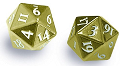 Ultra Pro Heavy Metal D20 2 Dice Set - Gold with White Numbers - Heavy Dice
