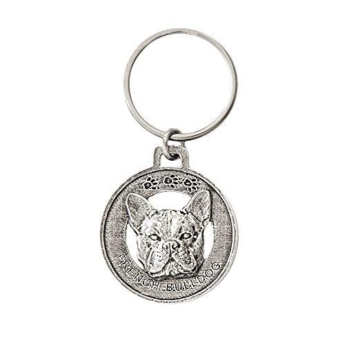 French Bulldog Pewter Key Chain, Key Fob, Key Ring, Gift, D082KC