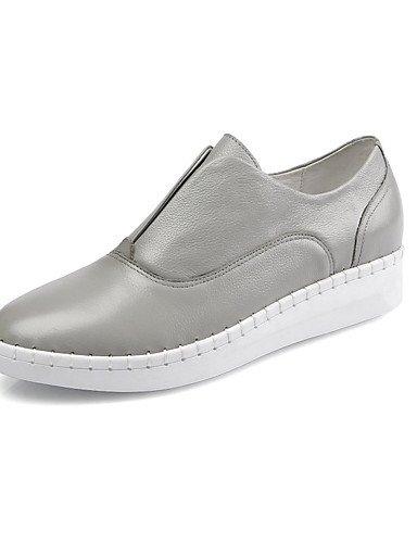 XZZ/ Damen-Stiefel-Lässig / Sportlich-Leder-Flacher Absatz-Flache Schuhe-Schwarz / Weiß / Grau black-us5.5 / eu36 / uk3.5 / cn35