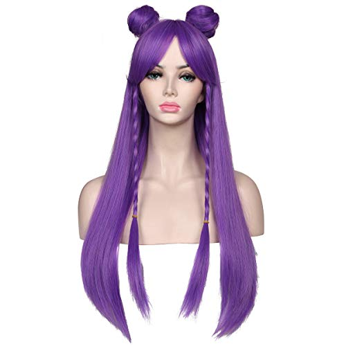 ColorGround Long Straight Purple Braided Wig with two Buns for Cosplay and Cons