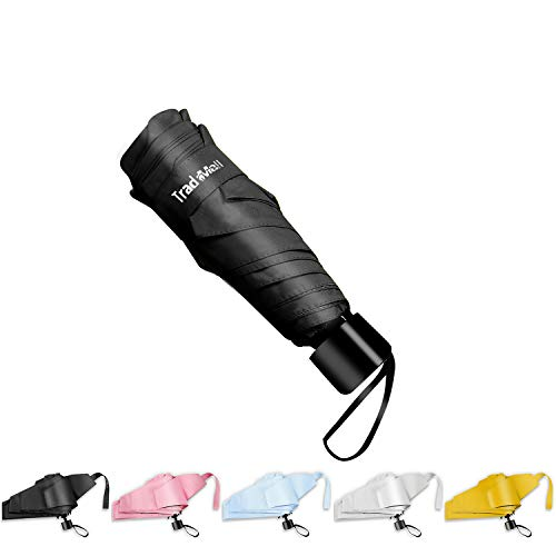 TradMall Mini Travel Umbrella, 6 Ribs Portable Lightweight Compact Parasol with 99% UV Protection for Sun & Rain, Black