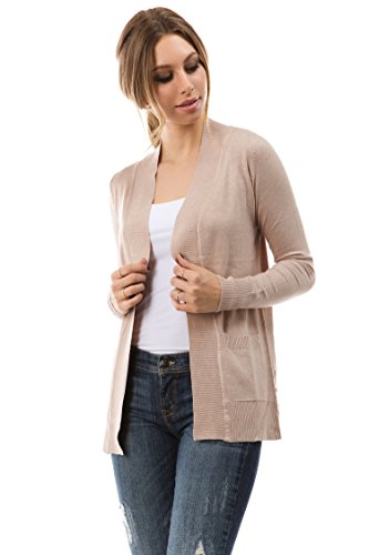 (CIELO Open Front Solid Color Long Sleeve Sweater Cardigan Khaki)