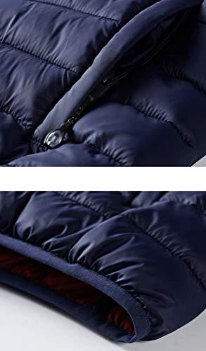 Invernale E Elegante Leggero Blu Giacca Con Ketamyy Scuro Imbottito Confortevole Cappuccio Uomo Trapuntata 0UwEagqpx