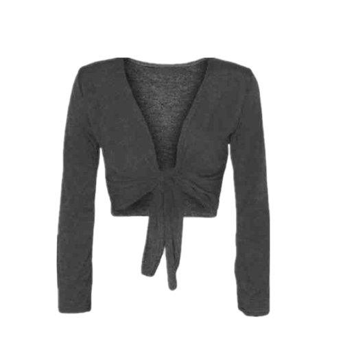 WearAll Women's Shrug Tie Up Long Sleeve Ladies Top - Dark Gray - US 8-10 (UK 12-14)