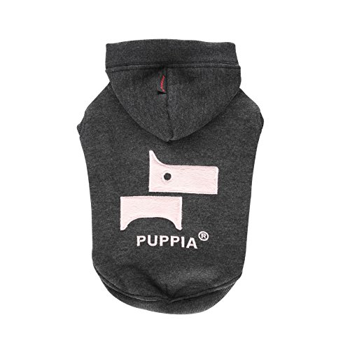 Puppia Authentic Neman Hoodie, Large, Charcoal Grey by Puppia