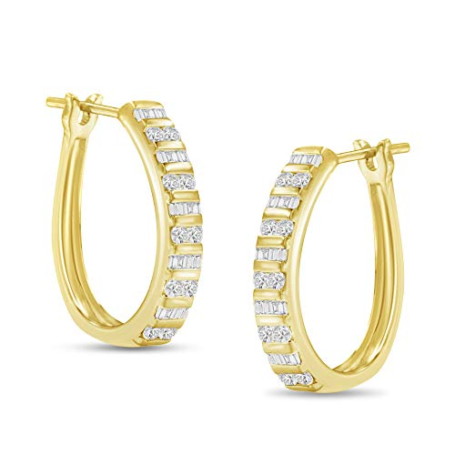10k Yellow Gold Round and Baguette Diamond Hoop Earrings (1 cttw, I-J Color, I2-I3 Clarity)