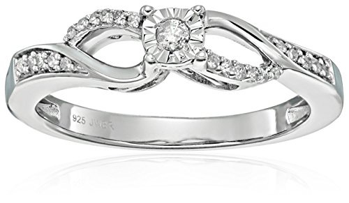 Twisted Diamond Wedding Ring (Sterling Silver Round Diamond Twisted Shank Anniversary Ring (1/10 cttw), Size 6 )