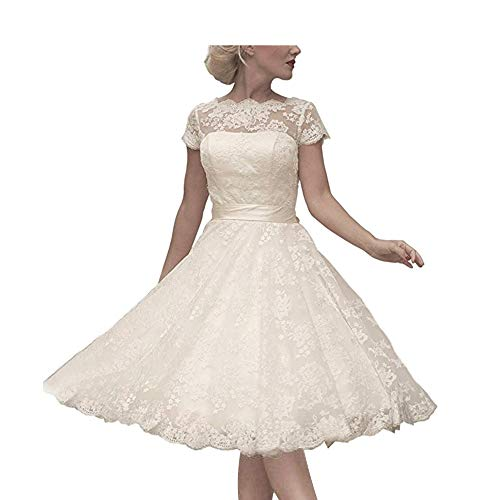 Abaowedding Women's Cocktail Dress Floral Lace Knee Length Short Formal Wedding Bridal Gown Ivory US 16 ()