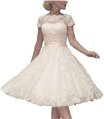 Abaowedding Women's Cocktail Dress Floral Lace Knee Length Short Formal Wedding Bridal Gown