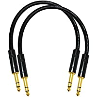 2 Units - 1 Foot - Canare L-4E6S Star Quad, Patch Cable terminated with Neutrik-Rean NYS ¼ Inch (6.35mm) Gold TRS Stereo Phone Plugs - CUSTOM MADE By WORLDS BEST CABLES.