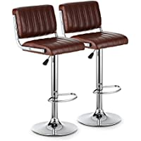 iKayaa Swivel Bar Stools with Backs Set of 2 Height Adjustable Pneumatic Pub Chairs Modern PU Leather Heavy-Duty