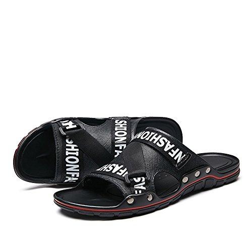 Size Men's Band Sunny Wide amp;Baby Sandals Genuine Slide Peep Durable Large Toe Stud Color Slip Black Slipper Black Leather ONS Decor Size 8MUS q5p5wR