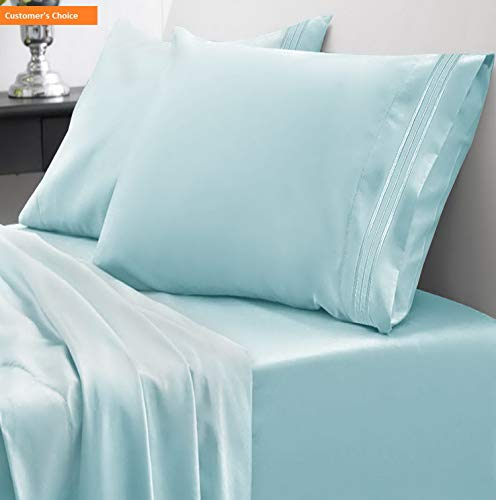 Mikash 1800 Thread Count Sheet Set - Soft Egyptian Quality Microfiber Hypoallergenic Sheets - Luxury Set with Flat Sheet, Fitted Sheet, 2 Pillow Cases, RV Short Queen, Light Blue | Style 84597064