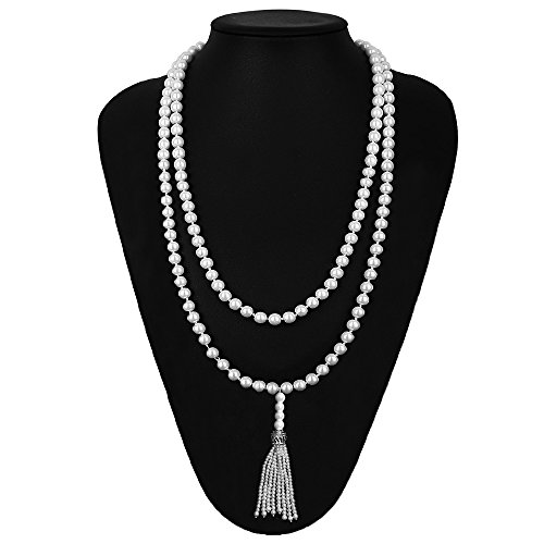 Beelittle 1920s Great Gatsby Faux Pearl Necklace Silver Pendants Necklace Flapper Accessories for (Faux Pearl Silver Beads)