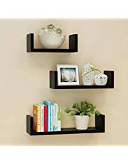 Set Of 3 Different Sizes U Shaped Wooden Floating Shelf Available in black,White