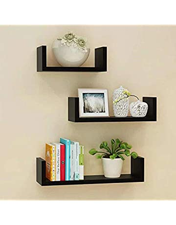 Set Of 3 Different Sizes U Shaped Wooden Floating Shelf Available in  black 72afee9e0