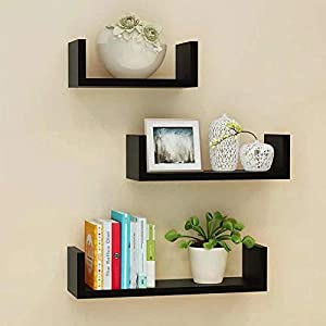 Set Of 3 Different Sizes U Shaped Wooden Floating Shelf Available in black,White (Black) by dy&dx