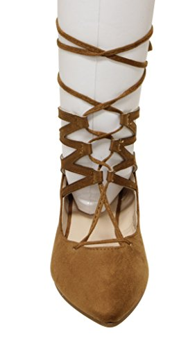Bella Marie Angie-25 Womens Pointy Toe Zip Closure Suede Gladiator Gilly Tie Wrap Flats Tan Ip5b5QX