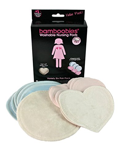 Bamboobies Washable Reusable Nursing Pads with Leak-Proof Backing for Breastfeeding, 3 Regular Pairs and 3 Overnight Pairs, 12 Count
