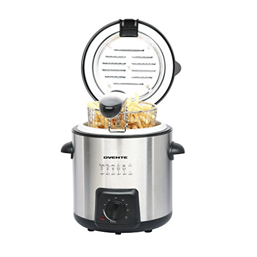 Ovente Mini Deep Fryer with Removable Basket, Stainless Steel, Adjust Temperature Control, Non-Stick Interior, Personal Size (FDM1091BR) (Personal, Brushed) Vulcan Stainless Steel Range
