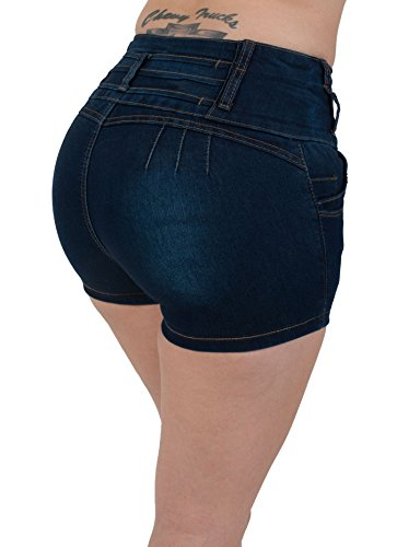 A5198-SH- High Rise, Colombian Design, Levanta Cola, Butt Lifting, Sexy Shorts in Navy Size 9 (Butt Lifting Shorts)