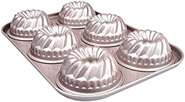 Mini Bundt Pan 6 Cavity for Instant Pot Small Kugelhopf Mold Nonstick Baking Cake Pans Champagne Gold