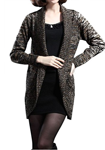 Galsang Wool Thicken Md-long Knited Cardigan Sweaters#08899 (XL, Gold)