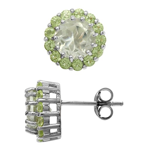 2.6 Ct Green (2.6ct Natural Green Amethyst & Peridot White Gold Plated 925 Sterling Silver Halo Stud/Post Earrings)