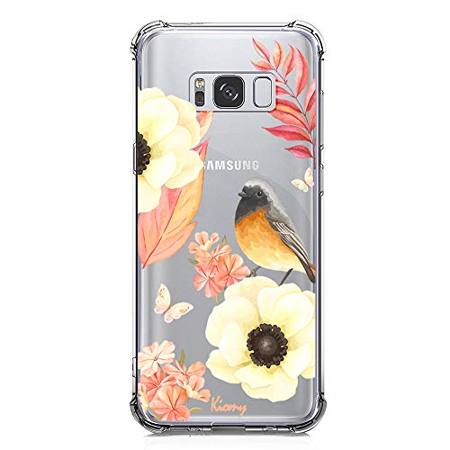 (Galaxy Note 8 Case, KIOMY Crystal Clear Case with Design Flowers Bird Pattern Print Bumper Protective Shockproof Case for Samsung Galaxy Note 8 Flexible Soft TPU Gel Silicone Floral Cover for Girls)