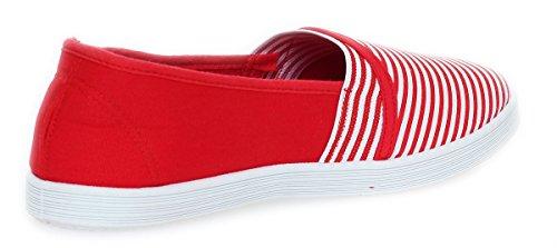 Bailarinas Señoras Mocasines Zapatos Verano Calzado Deportivo Rayas 15 W Rojo