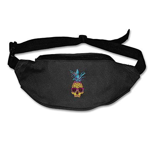 Ada Kitto Pineapple Skull Mens&Womens Sport Style Waist Pack For Running And Cycling Black One Size by Ada Kitto