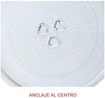 Universal Microwave Turntable Glass Plate with 3 Fixtures, 245 mm