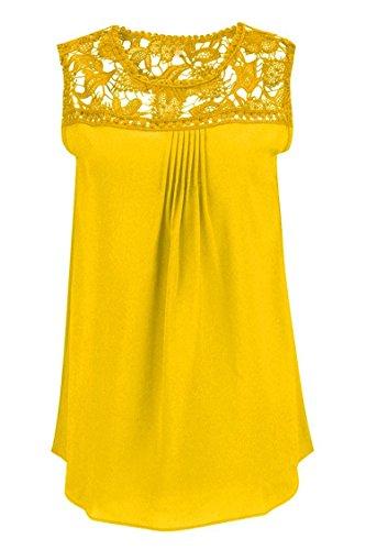 Manzocha Women's Lace Chiffon T Shirt Stitching Blouse Hollow Out Tops – Medium, Yellow