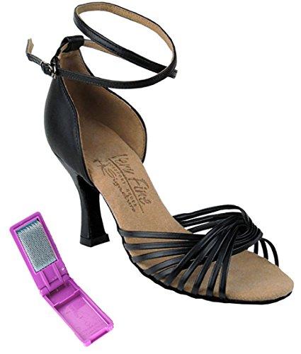 Mycket Fin Balsal Latin Tango Salsa Dansskor För Kvinnor S1001 3 Tums Klack + Vikbar Pensel Bunt Svart Läder