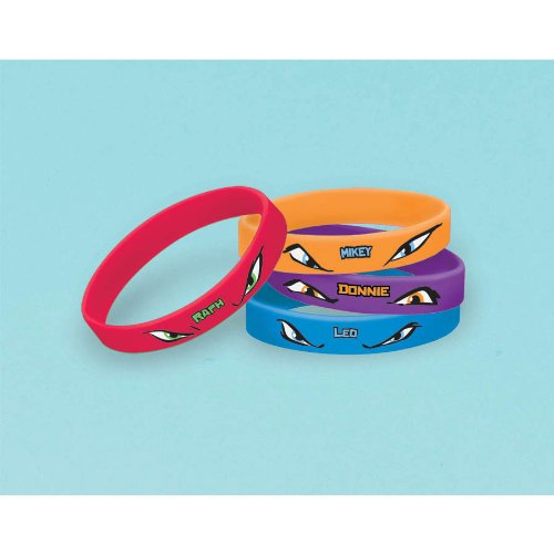 Teenage Mutant Ninja Turtles Rubber Bracelets, 4 Count, Party Supplies (Teenage Mutant Ninja Turtles Halloween)