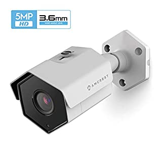 Amcrest UltraHD 5MP Outdoor POE Camera 2592 x 1944p Bullet IP Security Camera, Outdoor IP67 Waterproof, 78° Viewing Angle, 3.6mm Lens, 98ft Night Vision, 5-Megapixel, IP5M-1173EW-36MM (White)