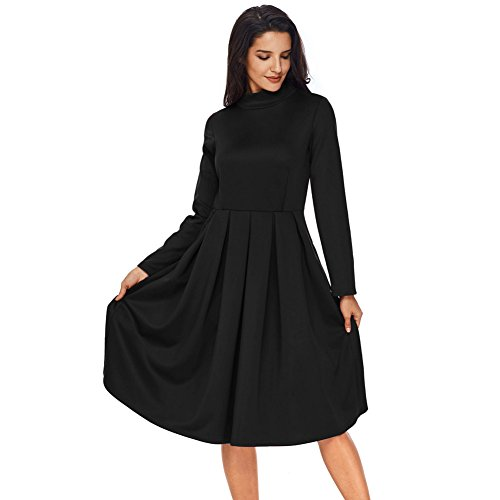 Solide Sleeve Neck High Long m Jupe Femmes Les ligne Robes De black Base A 4IRqYq8