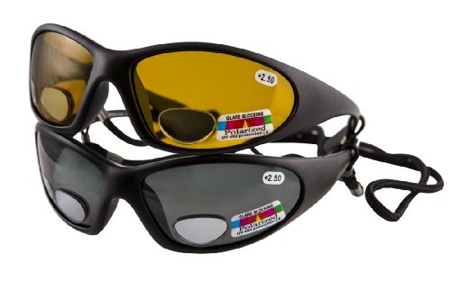 2 Polarised fishing glasses with bifocal lenses +2.50 - Grey lenses for sunny conditions and amber lenses for dull - Sunglasses Shop Online Uk