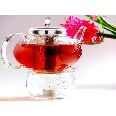 Glass Teapot Harmony, 42oz/1242ml with Tea Warmer Cozy Lead Free Special Glass No Drip by Tea Beyond